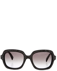 Valentino Crystal Embellished Square Sunglasses