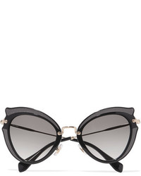 Miu Miu Embellished Cat Eye Acetate And Gold Tone Sunglasses Black