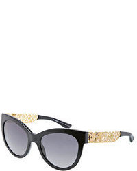 Dolce & Gabbana Filigree Embellished Oval Sunglasses