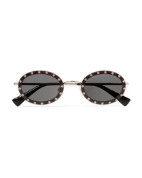 Valentino Garavani Oval Frame Crystal Embellished Acetate And Gold Tone Sunglasses