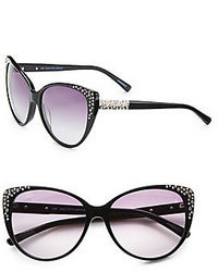 Saks Fifth Avenue Kat Oversized Cats Eye Embellished Plastic Sunglasses