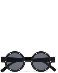 Le Specs Porthole Embellished Round Frame Acetate Sunglasses
