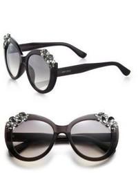 Jimmy Choo Megan Embellished 53mm Round Sunglasses