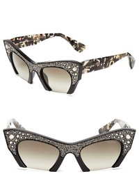 Miu Miu Semi Rimless Embellished Cat Eye Sunglasses