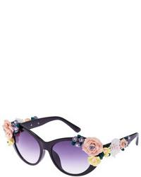 Romwe Floral Embellished Black Elliptical Sunglasses