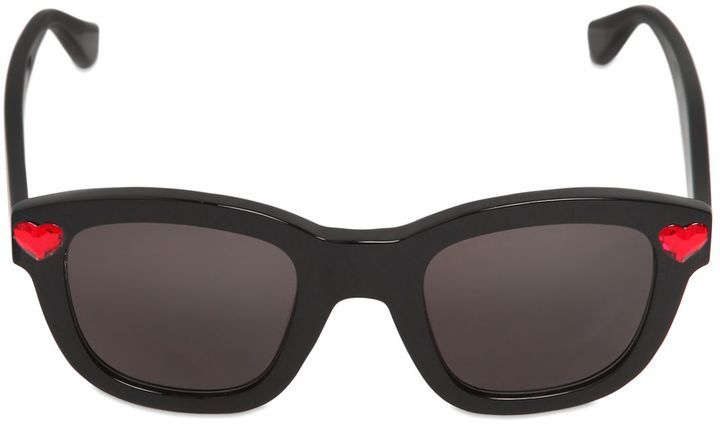 Saint Laurent Heart Embellished Acetate Sunglasses
