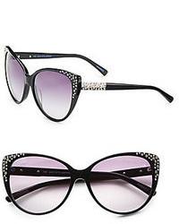 Saks Fifth Avenue Kat Oversized Cats Eye Embellished Plastic Sunglasses
