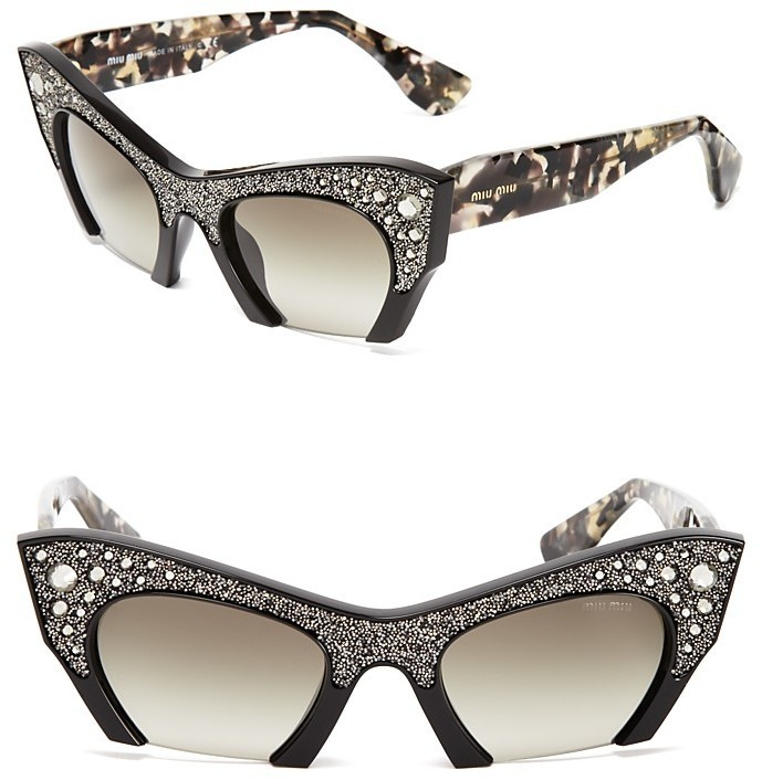 907f609b7dc ... Black Embellished Sunglasses Miu Miu Semi Rimless Embellished Cat Eye  Sunglasses