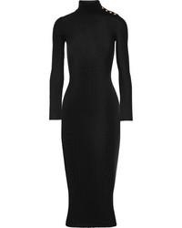 Balmain Embellished Ribbed Wool Sweater Dress Black