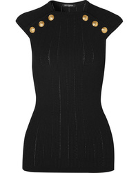 Balmain Button Embellished Ribbed Knit Tank