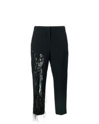 Black Embellished Tapered Pants