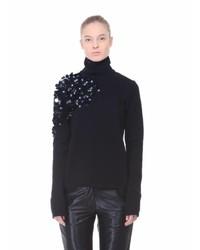 Anouki embellished black turtleneck top medium 1158434