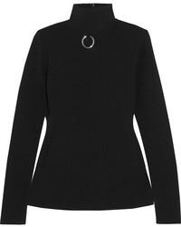 Embellished stretch knit turtleneck sweater black medium 5084117