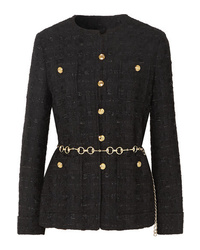 Gucci Button Embellished Tweed Jacket