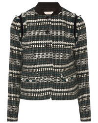 Tory Burch Norfolk Sequin Embellished Tweed Jacket Black