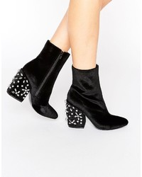 Black Embellished Velvet Ankle Boots