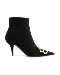 Balenciaga Knife Logo Embellished Velvet Ankle Boots