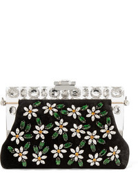Black Embellished Velvet Clutch