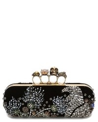 Alexander McQueen Medievil Embellished Velvet Knuckle Clutch None