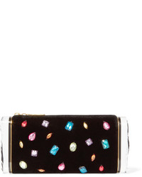 Edie Parker Soft Lara Crystal Embellished Velvet And Acrylic Box Clutch Black