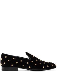 Versace Black Velvet Medusa Stud Loafers