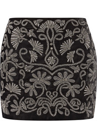 Alice + Olivia Alice Olivia Elana Embellished Velvet Mini Skirt Black