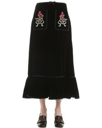 Gucci Velvet Long Skirt W Embellished Patches