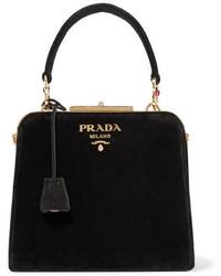 Prada Crystal Embellished Velvet Tote Black