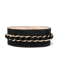 Balmain Chain Embellished Suede Waist Belt