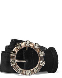 Crystal embellished velvet waist belt black medium 4393588