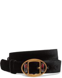 Prada Embellished Velvet Waist Belt Black