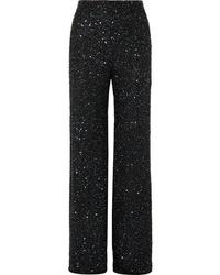 Jenny Packham Arno Embellished Chiffon Wide Leg Pants