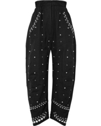 Isabel Marant Eloma Embellished Cotton Canvas Tapered Pants