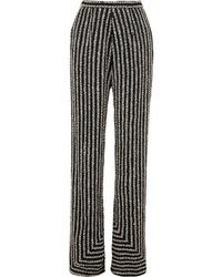 Naeem Khan Embellished Silk Satin Flared Wide Leg Pants
