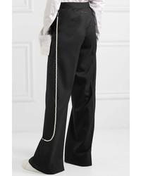 MM6 MAISON MARGIELA Faux Pearl Embellished Twill Wide Leg Pants Black