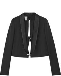 Lanvin Cropped Embellished Wool Twill Blazer Black
