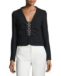 Valentino Long Sleeve Embellished Front Jacket Nero