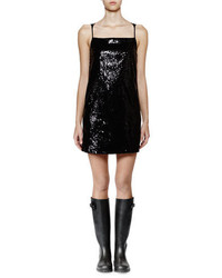 Saint Laurent Sleeveless Embellished Front Shift Dress Black