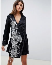ASOS DESIGN Kimono Wrap Dress With Pearl And Embellisht With Tassle Ties