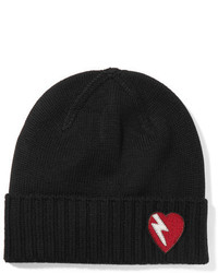 Saint Laurent Embroidered Wool Beanie Black