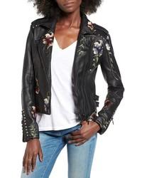 Black Embroidered Biker Jacket