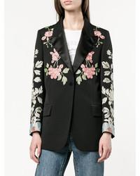 Gucci Black Floral Embroidered Blazer