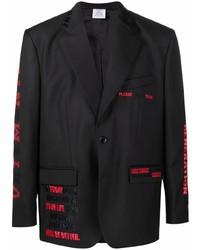 Vetements Embroidered Design Single Breasted Blazer
