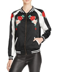 Aqua X Maddie T Floral Embroidered Bomber Jacket 100% Bloomingdales