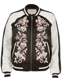 River Island Black Embroidered Bomber Jacket