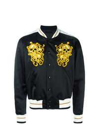 Alexander McQueen Skull Embroidered Bomber Jacket Black