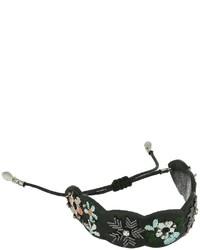 Rebecca Minkoff Floral Embroidery Guitar Strap Pulley Bracelet Bracelet