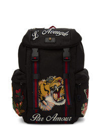 Gucci Black Blind For Love Embroidered Backpack
