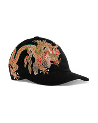 Gucci Embroidered Cotton Velvet Baseball Cap