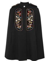 Vilshenko Eugenia Embroidered Velvet Paneled Twill Cape Black